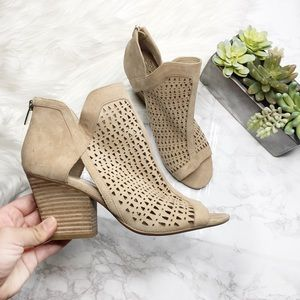 Vince Camuto Cachinta Lasercut Peep Toe Booties